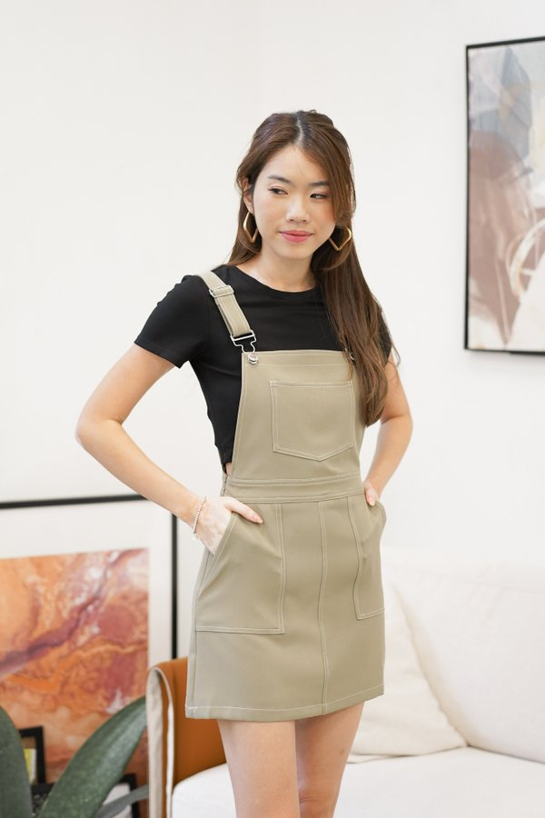 Joey Contrast Stitch Dungaree Dress in Olive