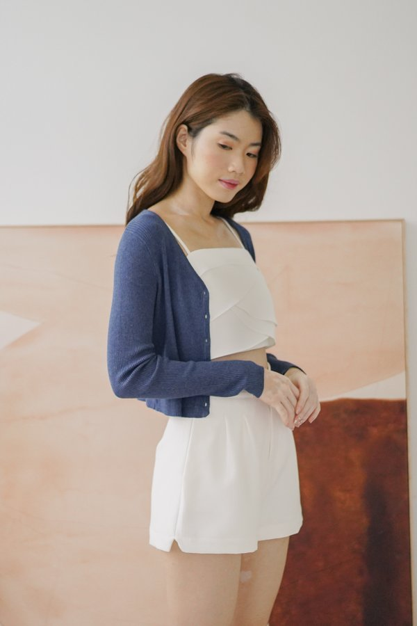 Zora Soft Knitted Cardigan with Seashell Buttons in Light Navy Blue
