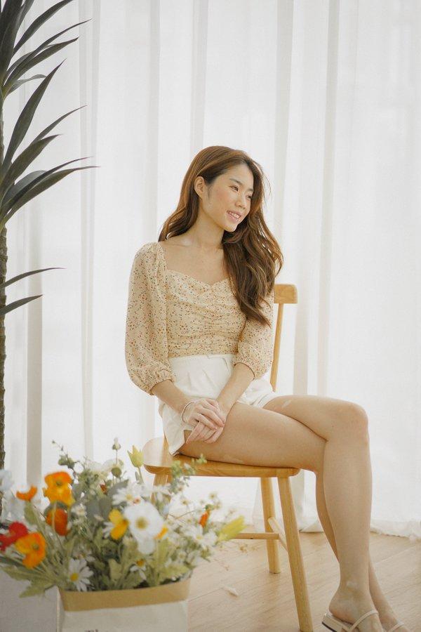 Jaeda High Waist Shorts in White