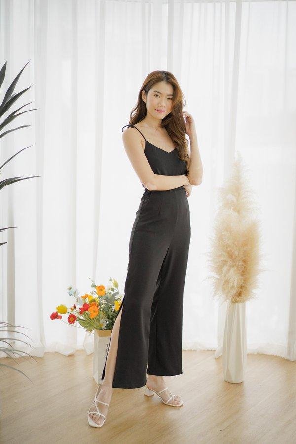 Ingrid Tie Shoulder Jumpsuit in Black