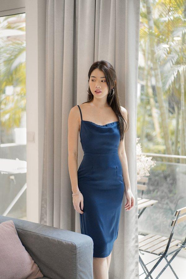 Nova Low Back Satin Cami Dress in Navy Blue