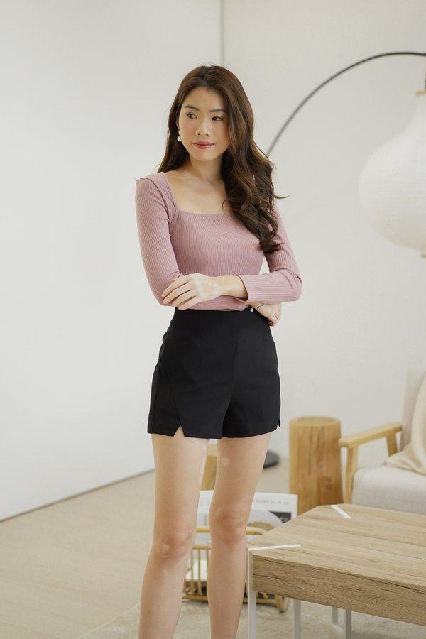 Vesta High Waist Shorts in Black