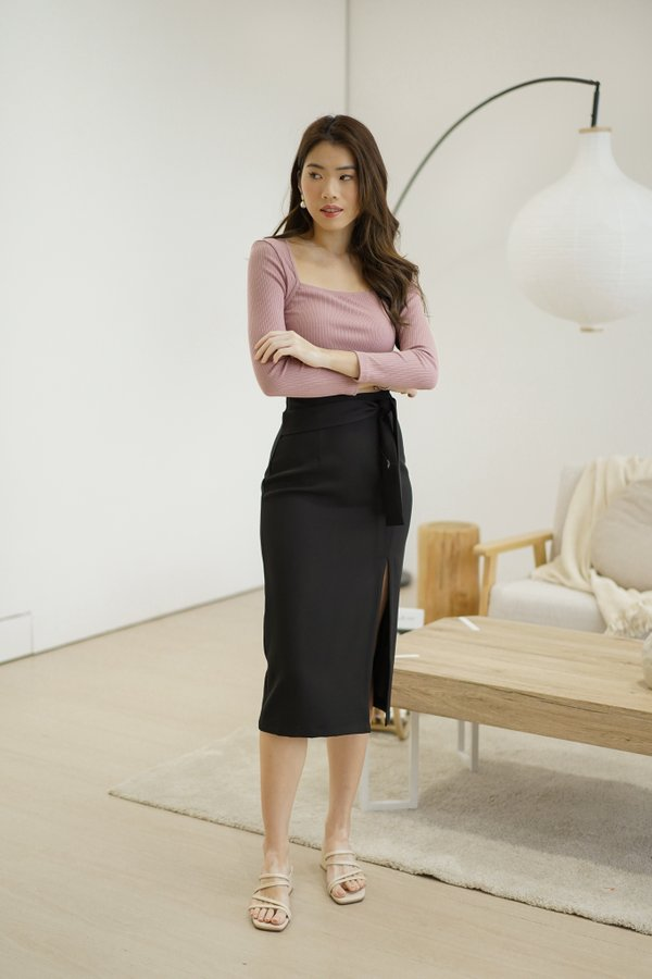 Dasha Midi Pencil Skirt in Black