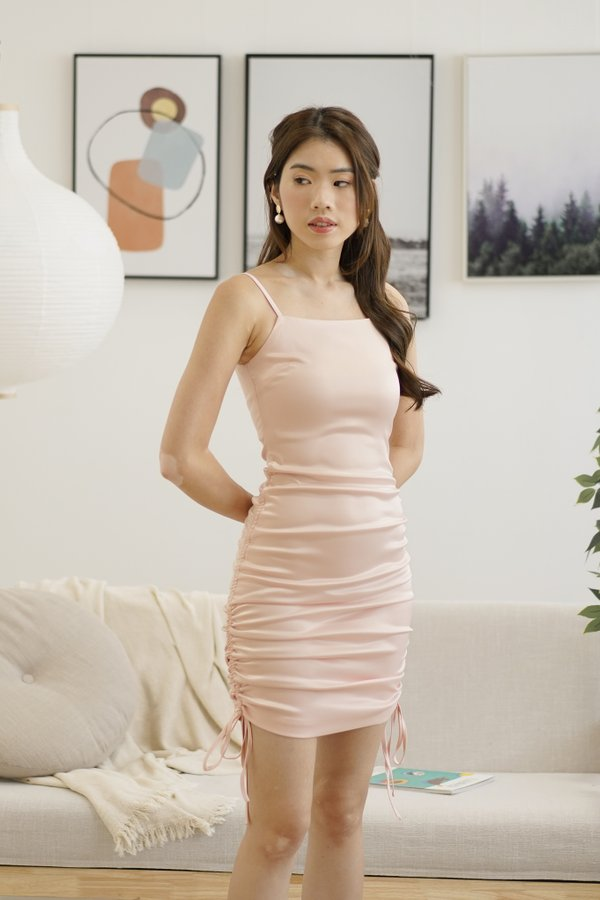 Aries Ruched Satin Dress in Pearl Blush