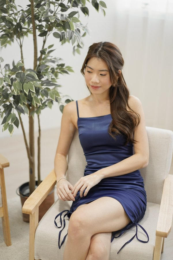 Aries Ruched Satin Dress in Navy Blue