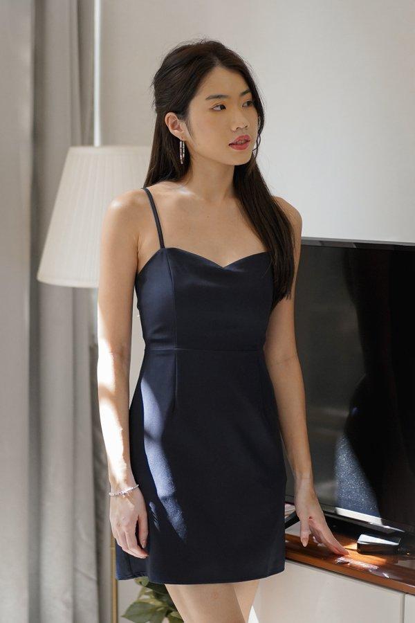 Liana Sweetheart Mini Dress in Midnight Blue