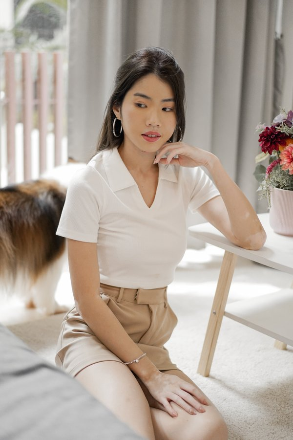 Brielle Polo Knit Crop Top in White