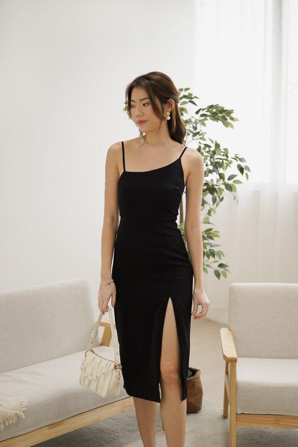 Raelynn Slanted Neckline Midi Dress in Black