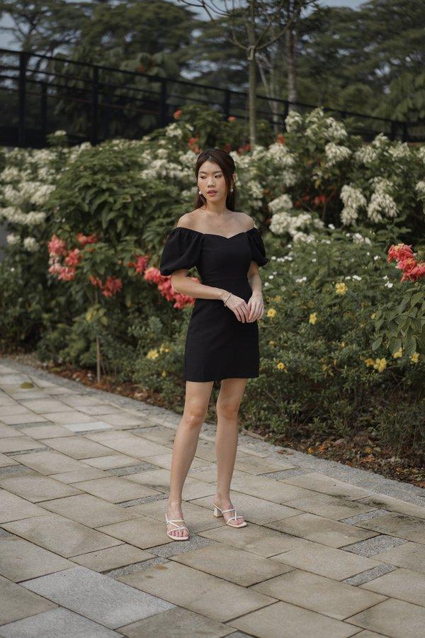 Dayna Puff Sleeve Dress Romper in Black