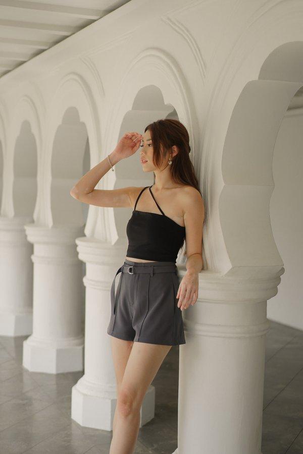 Azure Belted High Waist Shorts in Graphite