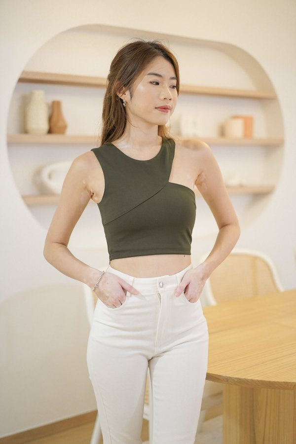 Kenzo Cut Out Top in Olive