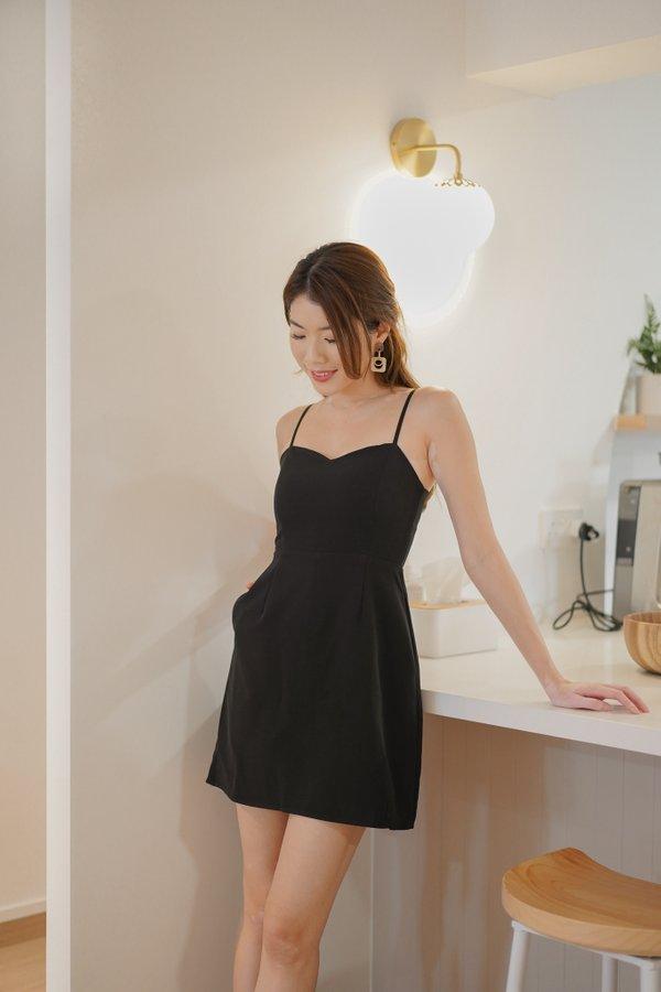 Liana V2 Sweetheart Mini Dress Romper in Black