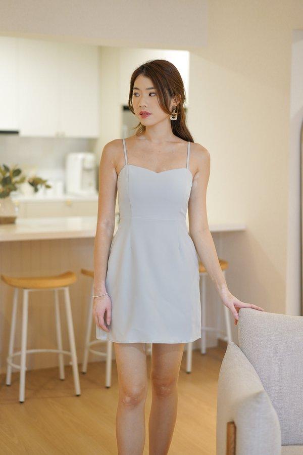 Liana V2 Sweetheart Mini Dress Romper in Light Blue