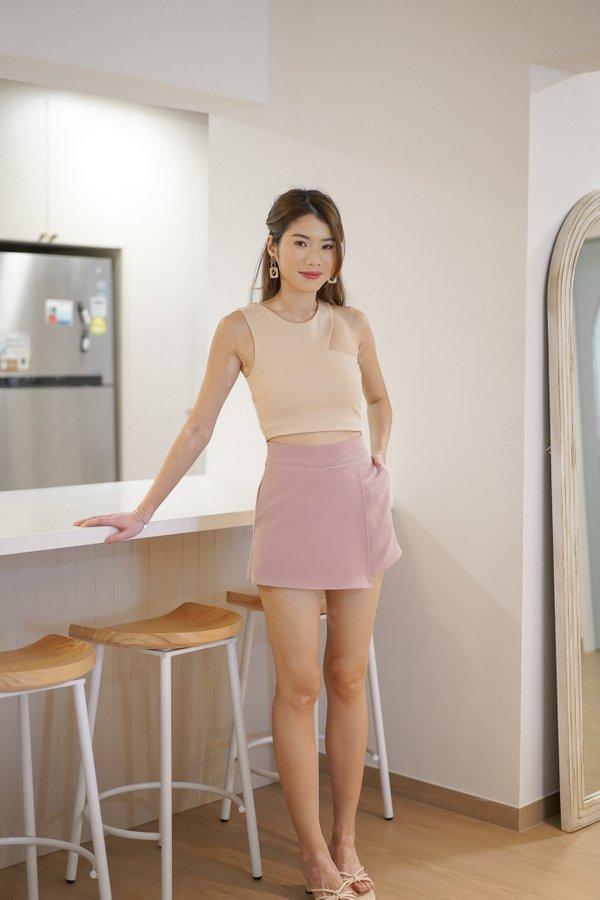 Jayce Overlap Shorts in Dusty Pink