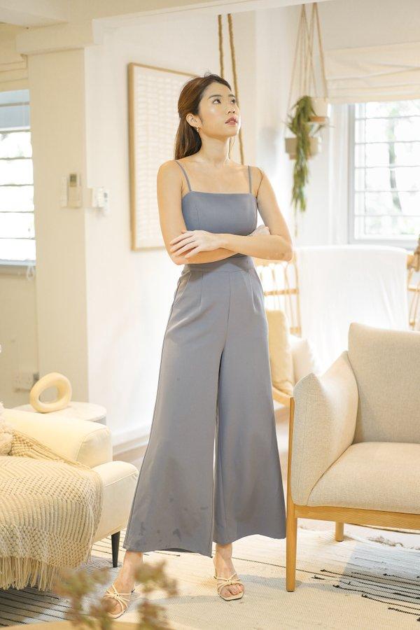 Estelle Wide Leg Jumpsuit in Ash Blue