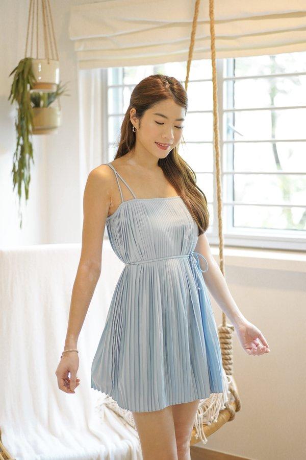 Faye Pleated Dress in Baby Blue