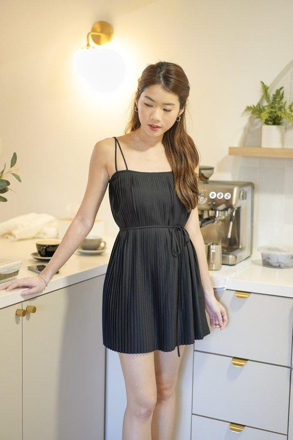 Faye Pleated Dress in Black