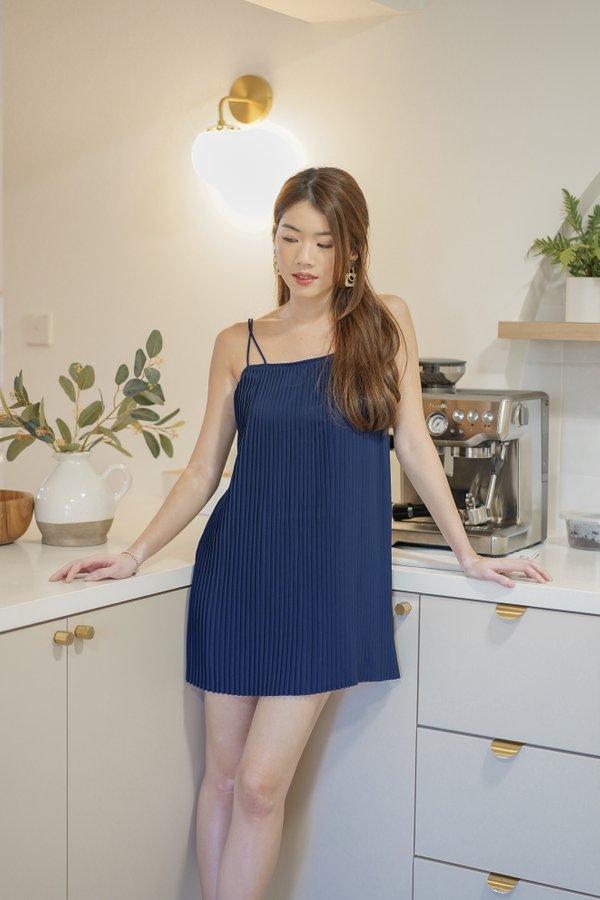 Faye Pleated Dress in Navy Blue
