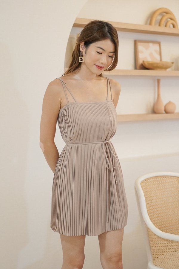 Faye Pleated Dress in Taupe