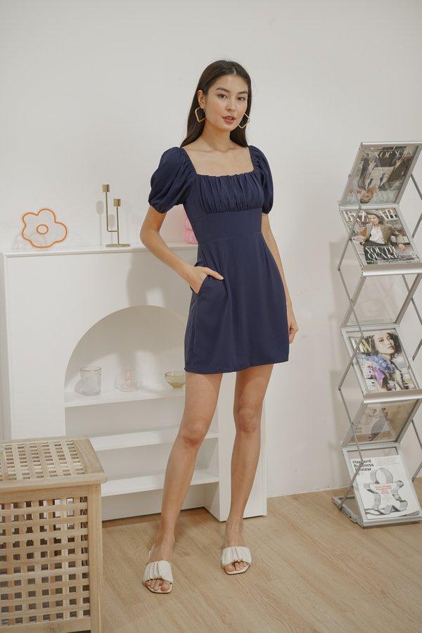 Renae Ruched Dress Romper in Navy Blue