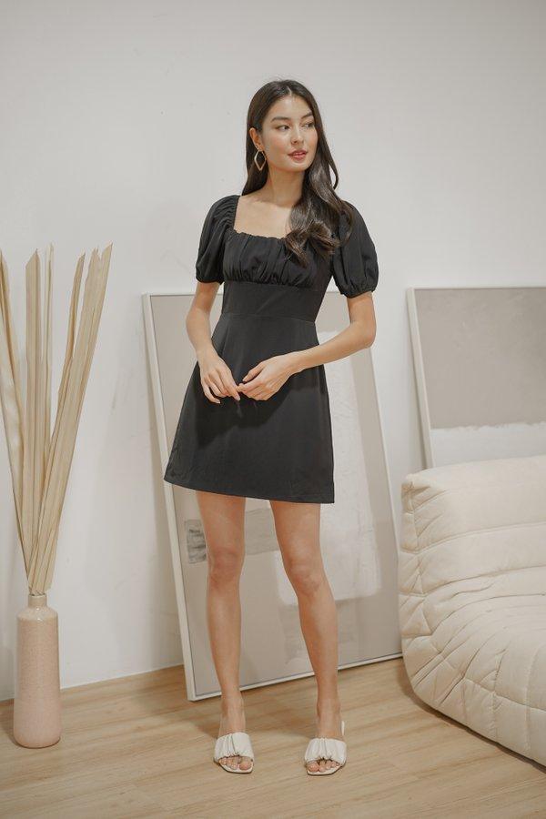 Renae Ruched Dress Romper in Black