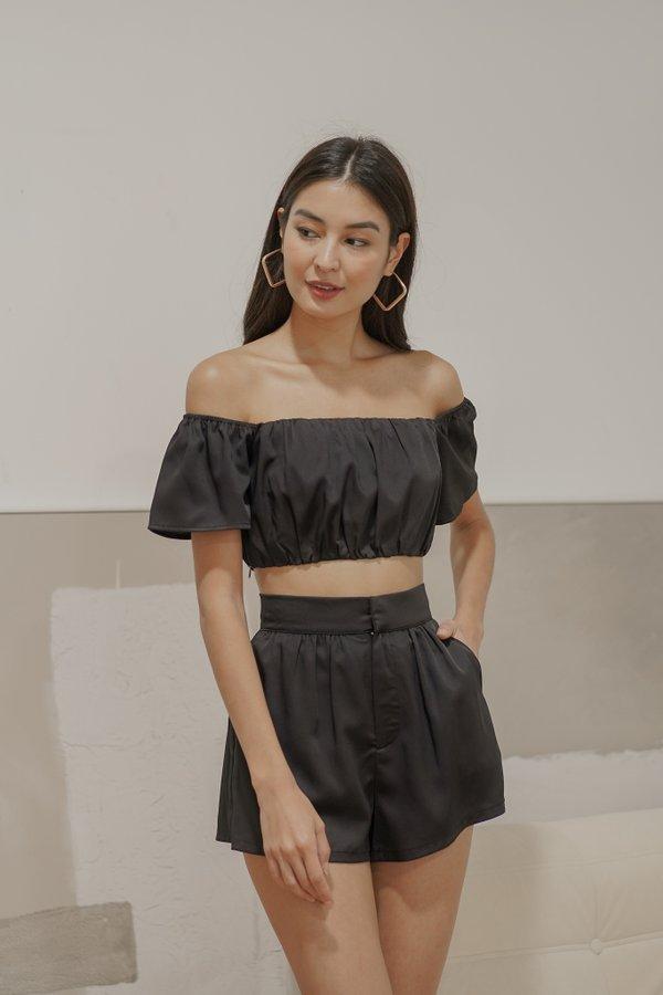 Esme Off Shoulder Crop Top in Black