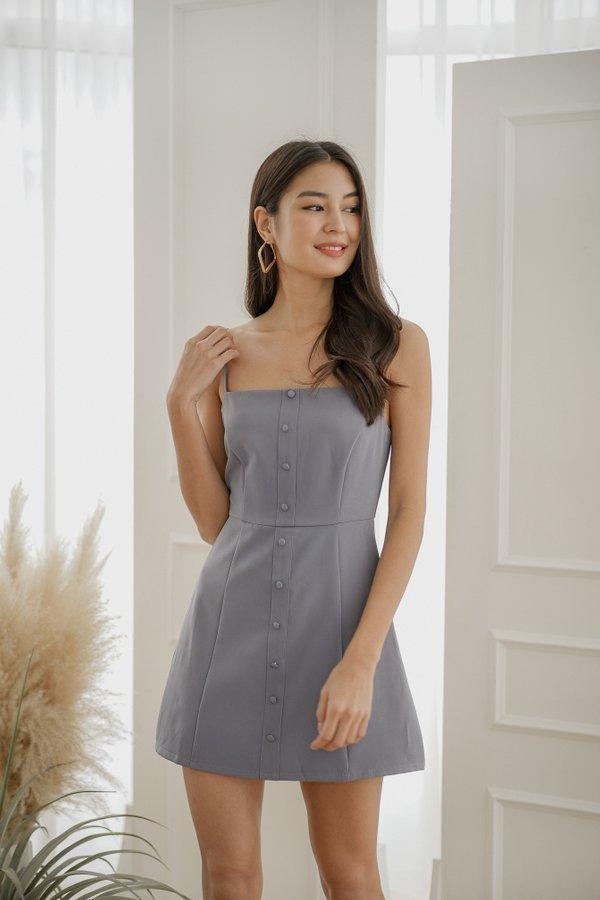 Elora Button Dress in Ash Blue