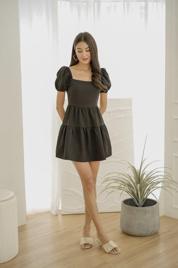 Celeste Babydoll Tier dress in Black