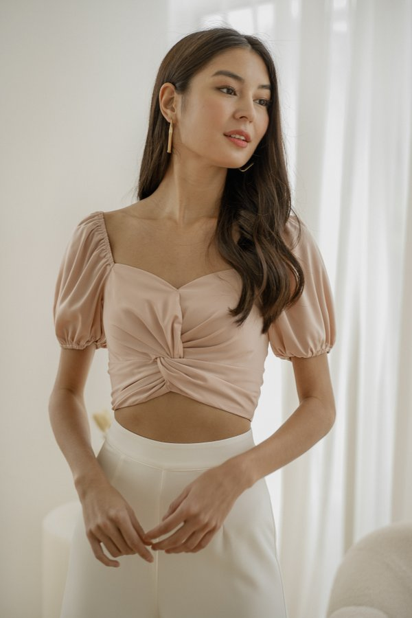 Emery Satin Knot Top in Blush