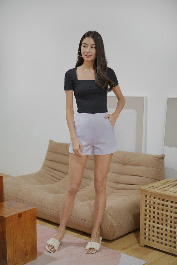 Brynn Tailored High Waist Shorts in Lilac