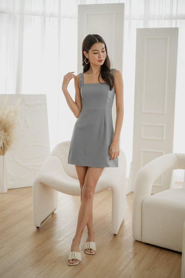Brooklyn Sash Dress in Dusty Blue