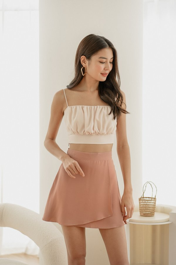 Noelle Ruched Top in Ginger Cream