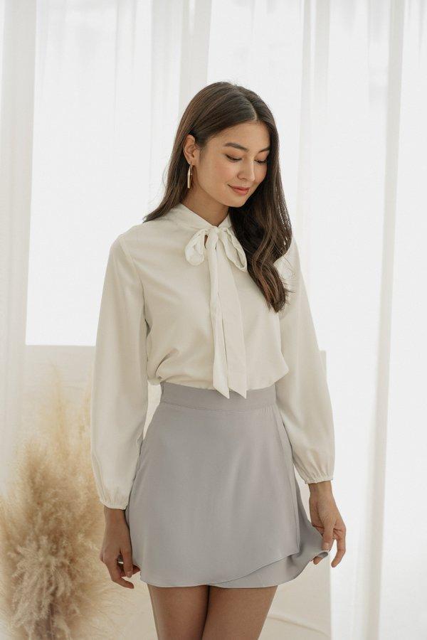 Rina Tie Ribbon Sleeve Top in White