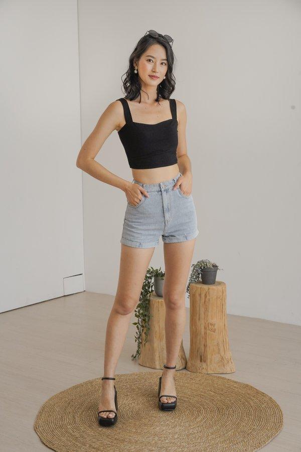 Austin Cuff Denim Shorts in Light Wash