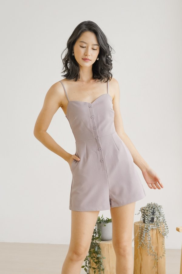 Cairo Sweetheart Button Romper in Lilac Rose
