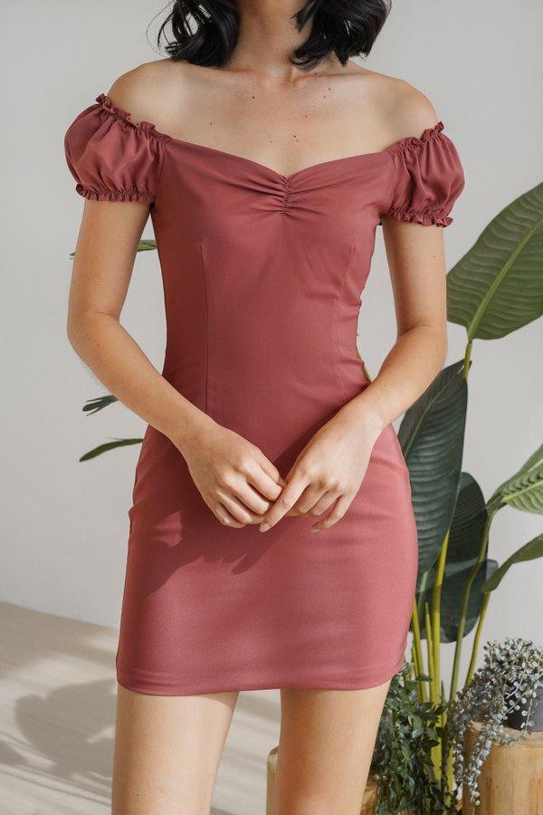Ailee Off Shoulder Dress in Terracotta