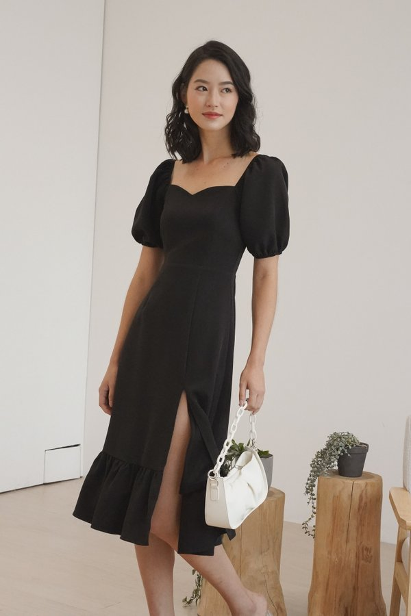 Clarabelle V3 Puff Sleeve Midi Dress in Black