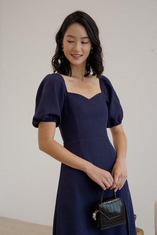 Clarabelle V3 Puff Sleeve Midi Dress in Navy Blue