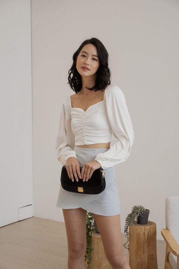 Linda Satin Sleeve Top in White