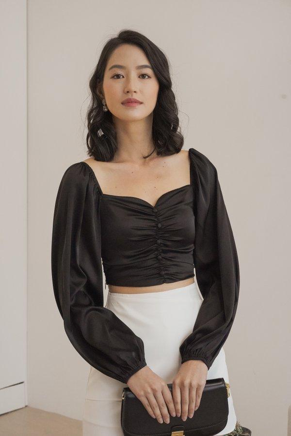 Linda Satin Sleeve Top in Black